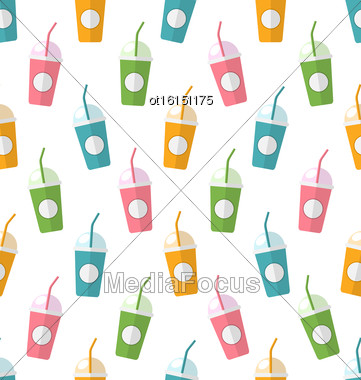 Illustration Seamless Pattern With Colorful Set Of Milkshakes With Straws - Vector Stock Photo