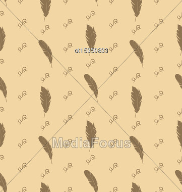 Illustration Seamless Pattern Of Feathers With Ornate Elements, Vintage Wallpaper - Vector Stock Photo