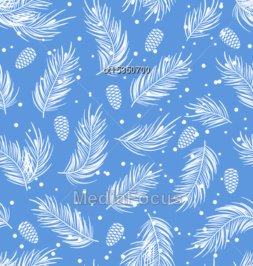 Illustration Seamless Pattern With Fir Branches And Cones, Winter Wallpaper - Vector Stock Photo
