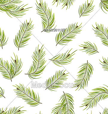 Illustration Seamless Pattern With Fir Branches, Nature Texture - Vector Stock Photo