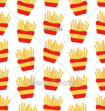 Illustration Seamless Pattern Of French Fries Boxes Of Takeaway. Fast Food Background - Vector Stock Photo