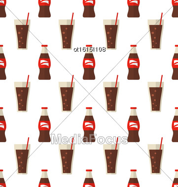 Illustration Seamless Pattern With Glass And Bottle With Dark Red Beverage - Vector Stock Photo