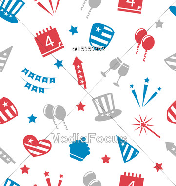 Illustration Seamless Pattern For Independence Day Of America, Flat Icons In US National Colors - Vector Stock Photo