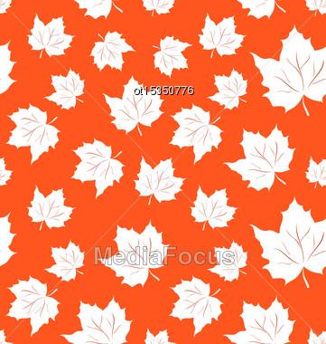Illustration Seamless Pattern Of Maple Leaves - Vector Stock Photo