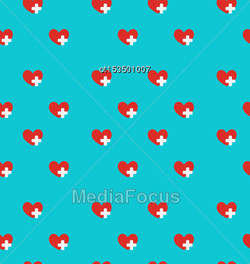 Illustration Seamless Pattern With Medical Symbol, Health Care Background - Vector Stock Photo