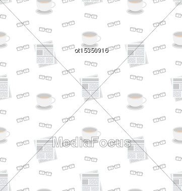Illustration Seamless Pattern With Newspapers, Coffee And Eyeglasses, Flat Business Icons, Repeating Wallpaper - Vector Stock Photo