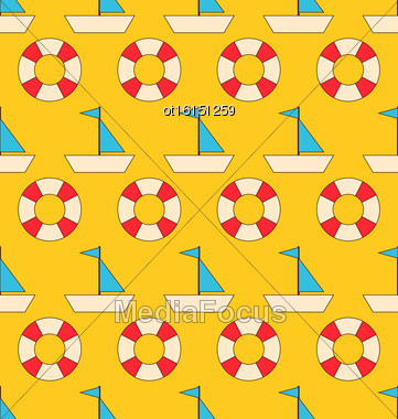 Illustration Seamless Pattern With Sea Elements: Sailboats And Lifebuoy. Can Be Used For Wallpapers - Vector Stock Photo