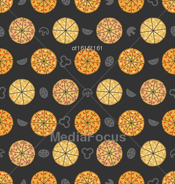 Illustration Seamless Pattern With Set Of Different Pizza. Colorful Food Wallpaper - Vector Stock Photo