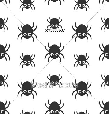 Illustration Seamless Pattern With Simple Spiders, Halloween Wallpaper - Vector Stock Photo