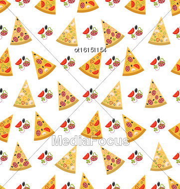Illustration Seamless Pattern With Slices Of Pizza. Colorful Food Wallpaper - Vector Stock Photo