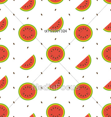 Illustration Seamless Pattern With Slices And Seeds Of Watermelon - Vector Stock Photo