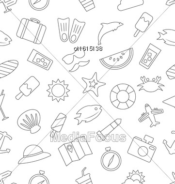 Illustration Seamless Pattern With Tourism And Holiday Objects And Icons. Summer Texture, Outline Style - Vector Stock Photo