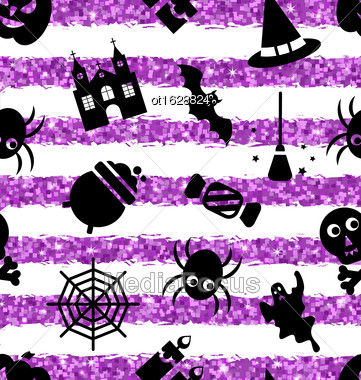 Illustration Seamless Pattern With Traditional Objects. Glitter Violet Wallpaper For Halloween Party - Vector Stock Photo
