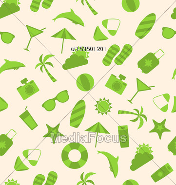 Illustration Seamless Pattern Of Travel On Holiday Journey, Summer Flat Icons - Vector Stock Photo
