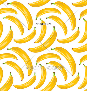 Illustration Seamless Stylish Pattern With Ripe Bananas. Fruit Wallpaper - Vector Stock Photo