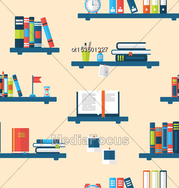 Illustration Seamless Texture With Books On Bookshelves, Flat Minimal Design Style - Vector Stock Photo