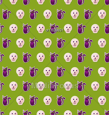 Illustration Seamless Texture With Colorful Cats And Skulls For Halloween. Abstract Holiday Background - Vector Stock Photo