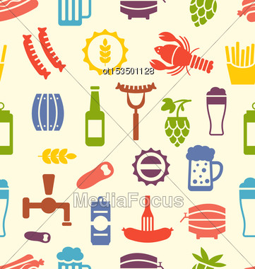Illustration Seamless Texture With Colorful Icons Of Beers And Snacks, Food Wallpaper - Vector Stock Photo
