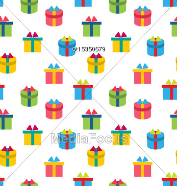 Illustration Seamless Texture Of Colorful Present Boxes - Vector Stock Photo