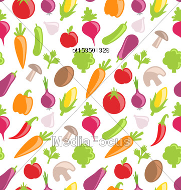 Illustration Seamless Texture Of Colorful Vegetables, Wallpaper With Simple Icons - Vector Stock Photo