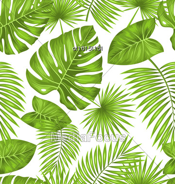 Illustration Seamless Texture With Green Tropical Leaves, Summer Beautiful Wallpaper - Vector Stock Photo