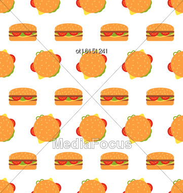 Illustration Seamless Texture With Hamburgers. Fast Food Pattern - Vector Stock Photo