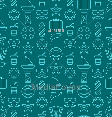 Illustration Seamless Texture With Hand Drawn Vocation Objects And Icons. Summer Pattern. Outline Style - Vector Stock Photo