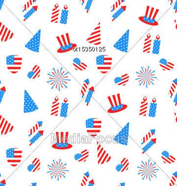 Illustration Seamless Texture Holiday Objects For Independence Day Of America, US National Colors - Vector Stock Photo