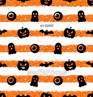 Illustration Seamless Texture With Pumpkin, Bat, Spooky, Eye. Holiday Wallpaper For Halloween With Traditional Icons - Vector Stock Photo