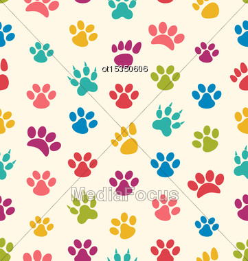 Illustration Seamless Texture With Traces Of Cats, Dogs. Imprints Of Paws Pets - Vector Stock Photo