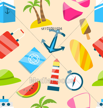 Illustration Seamless Texture Of Travel On Holiday Journey, Summer Flat Icons - Vector Stock Photo