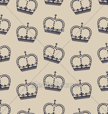 Illustration Seamless Wallpaper Representing The Crown Of The British Royal Family. Retro Background - Vector Stock Photo