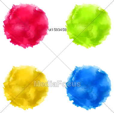 Illustration Set Abstract Watercolor Splash, Colorful Paint Circles - Vector Stock Photo