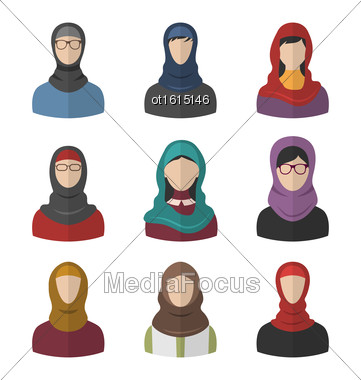 Illustration Set Arabic Women, Heads And Headscarf, Portraits, Traditional Clothing In Arab Countries, Flat Icons - Vector Stock Photo