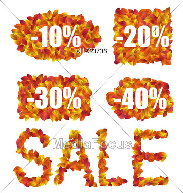 Illustration Set Autumn Sale Discounts Made In Colorful Leaves, Isolated On White Background - Vector Stock Photo