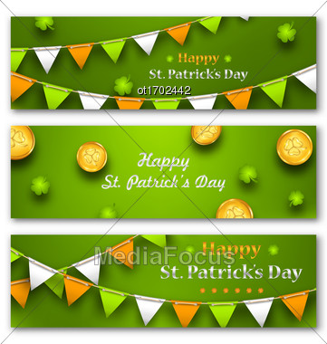 Illustration Set Banners With Bunting Hanging Pennants, Golden Coins, Clovers For St. Patricks Day - Vector Stock Photo