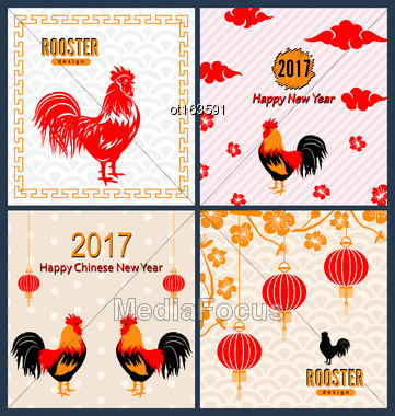 Illustration Set Banners With Chinese New Year Roosters, Blossom Sakura Flowers, Lanterns. Templates For Design Greeting Cards, Invitations, Flyers Etc. - Vector Stock Photo