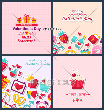 Illustration Set Beautiful Banners With Traditional Elements For Happy Valentine's Day. Romantic Greetings Cards. Templates Brochures - Vector Stock Photo