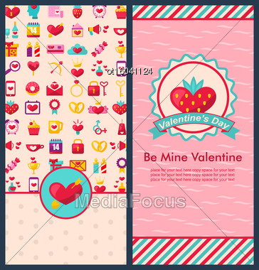 Illustration Set Beautiful Vertical Banners With Romantic Elements For Happy Valentine's Day. Cute Celebration Cards. Templates Brochures - Vector Stock Photo
