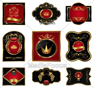 Set Black Gold-framed Labels Stock Photo