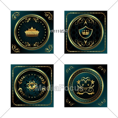 Set Blue Dark Gold-framed Labels Stock Photo