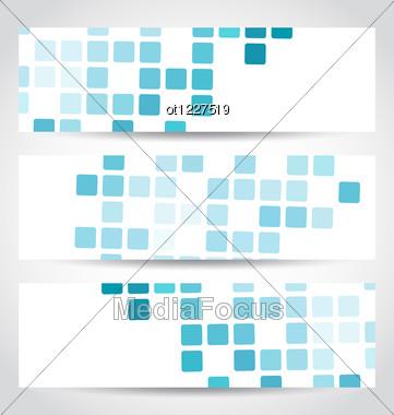 Set Blue Mosaic Tile Cards Stock Photo