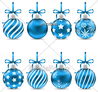 Illustration Set Christmas Blue Shiny Balls With Bow Ribbons And Different Textures, Isolated On White Background - Vector Stock Photo