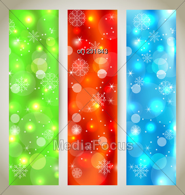 Set Christmas Glossy Banners With Snowflakes Stock Photo