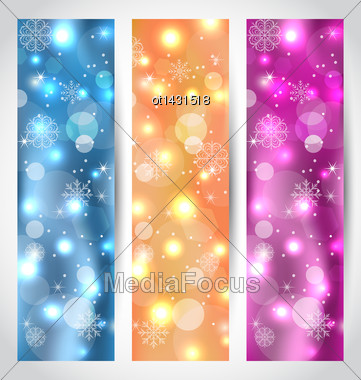 Illustration Set Christmas Glowing Banners With Snowflakes - Vector Stock Photo
