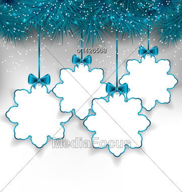 Illustration Set Christmas Paper Snowflakes With Copy Space For Your Text - Vector Stock Photo
