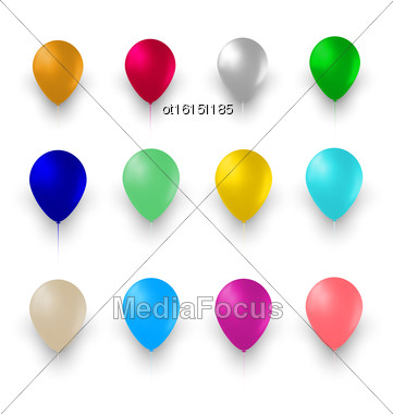 Illustration Set Of Colorful Air Balloons Isolated On White Background - Vector Stock Photo
