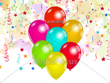 Illustration Set Colorful Balloons And Confetti For Your Party - Vector Stock Photo