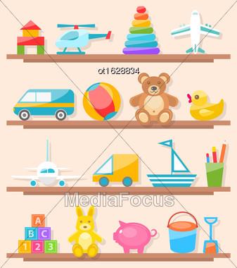 Illustration Set Of Colorful Children Toys On Shelf. Cartoon Baby Joys - Vector Stock Photo