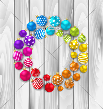Illustration Set Colorful Christmas Glass Balls On Wooden Background - Vector Stock Photo
